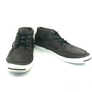 CONVERSE Jack Purcell Brown Leather Boat Shoes